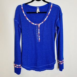 NWT Free People We the Free Rainbow Thermal Henley